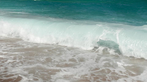4k slow motion beautiful video of blue sea waves breaking over the shoreline Footage