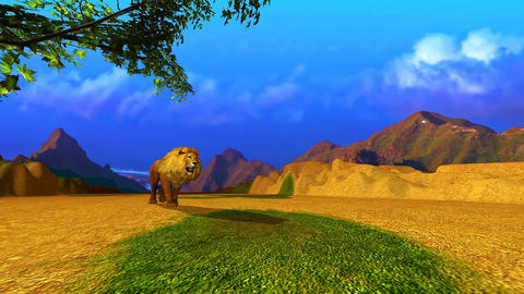 09 Animation of a Lion in a landscape of mountains and plain Animation