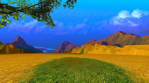 10 landscape of mountains, plain with ocean in the background Animation