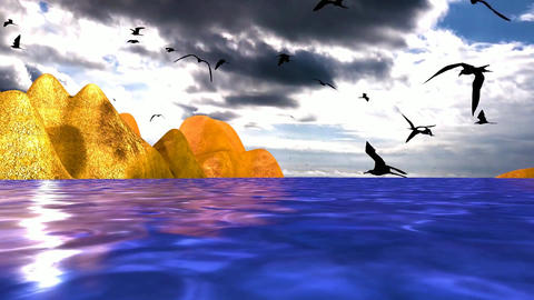 05 landscape of sea, coast and sea birds flying around Animation