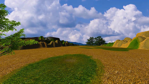 06 landscape of hill top with mountains in distance Animation