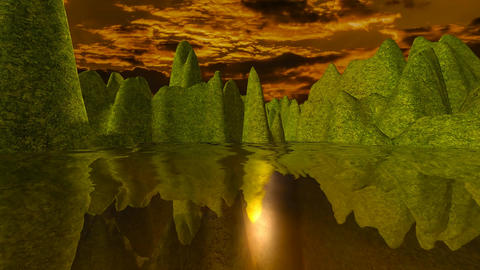 15 natural landscape with sunset and sea with mountains reflected in sea Animation