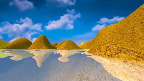 19 natural summers day landscape of coast and sea Animation