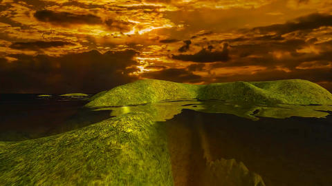 14 natural landscape sunseat sea with red sunset and green islands Animation