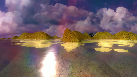 16 natural landscape sunseat sea with hills reflected in sea Animation