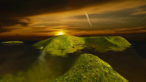 13 natural landscape of sunset and sea Animation