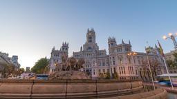 Madrid Spain time lapse 4K, city skyline night to day... Stock Video Footage