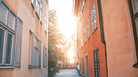 Stockholm's famous place Gamla Stan's empty street in sunny day. Old, historic, traditional Live Action