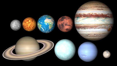 All planets of Solar System. Mercury, Venus, World, Mars, Jupiter, Saturn, Neptune, Uranus, Pluto Animation