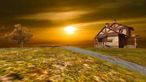 12 landscape with old house on top of a mountain sunset Animation