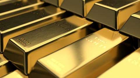 Close-up view of fine gold bars Animation