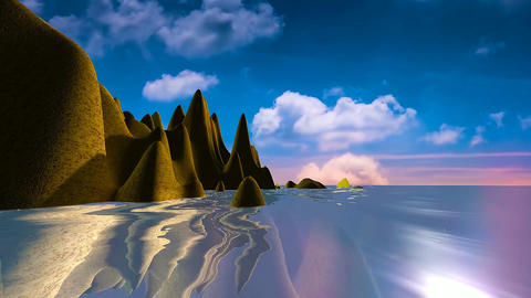 18 natural landscape, sunset and sea with reflections from land Animation