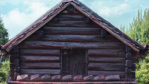 Old wooden Sweden, Swedish wooden house in nature. Historical house for ancient Footage