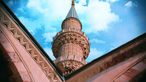 Minaret of Blue Mosque. Sultanahmet mosque in Istanbul, islam, religion, muslim footage with blue Live Action
