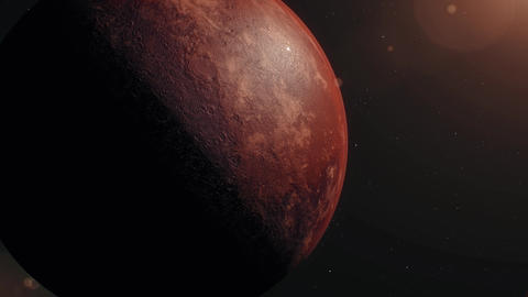 Mars, Sunrise over Planet Mars, Dark side of the red... Stock Video Footage