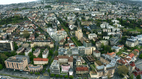 Aerial shot of the cityscape of Lausanne. Switzerland Footage