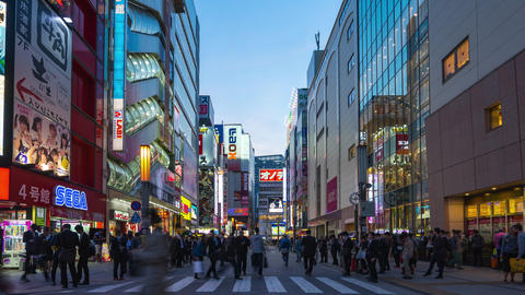 Time lapse of Akihabara Electric Town the famous place in Tokyo with crowd of people in Tokyo city, Live Action
