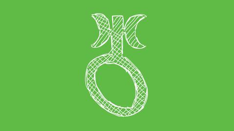 Astrology Symbol Uranus at green screen background. white... Stock Video Footage