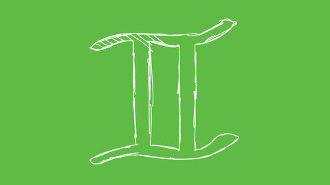 Astrology Symbol Gemini at green screen background. white and transparent Animation