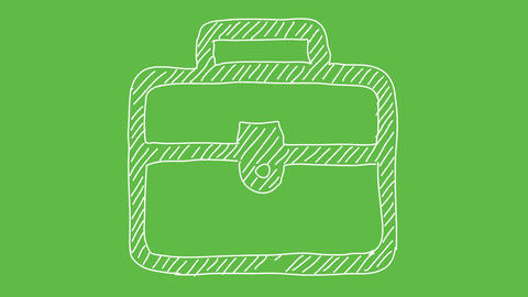 Business Symbol Briefcase at green screen background. white and transparent Animation