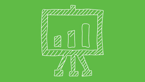 Business Symbol Chart at green screen background. white and transparent animated Animation