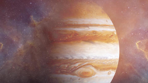 Giant planet of Solar system Jupiter and ocean with big waves. Surrealistic animation. Jupiter, Animation