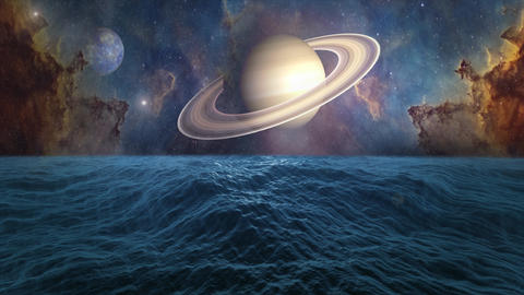 Planets of Solar system Saturn, Mercury and ocean with big waves. Surrealistic and fantastic Animation