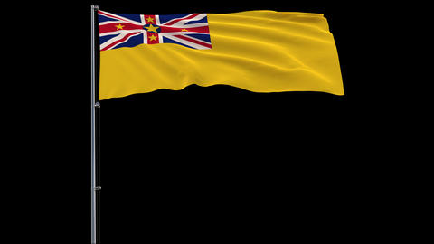 Flag Niue on transparent background, 4k prores 4444 footage with alpha Animation