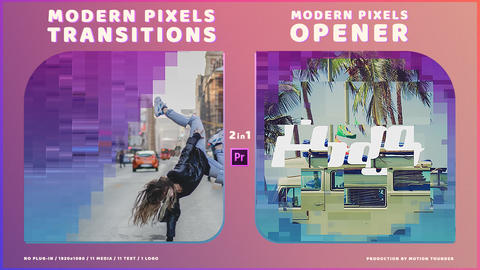 Modern Pixels Transitions & Opener Premiere Pro Template