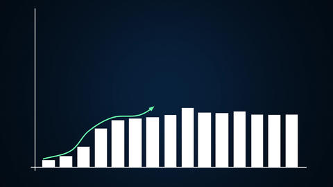 Bar graph and linear ascending graphs in blue Animation