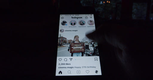 Instagram social network checking feed Live Action