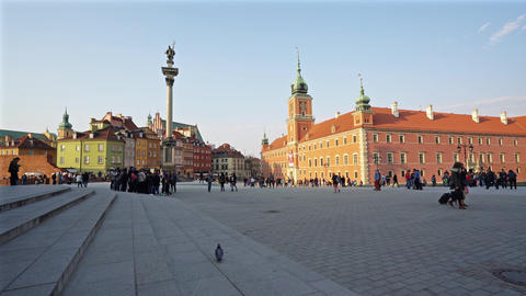 Zamkowy Square in Warsaw Footage