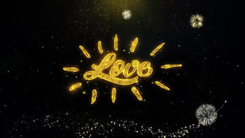 Happy Valentine's day Love Written Gold Particles Exploding Fireworks Display Footage