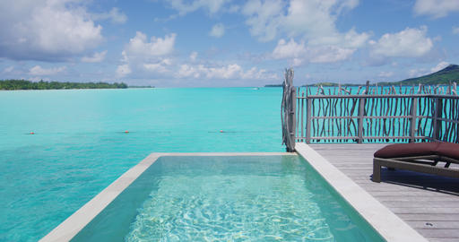 Pool luxury travel vacation background by tropical ocean coral lagoon Footage