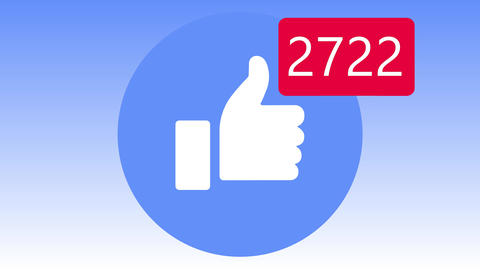 Increasing likes point. Icon of social media's account. Likes and friends. Isolated count up Animation