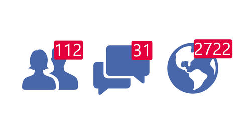 Increasing all social media Facebook likes, friends and messages icon. Count up in concept screen Animation
