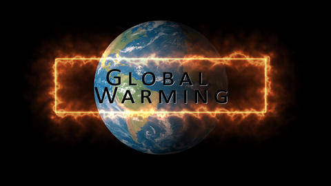Global warming theme, generic or concept in black background with world. HD animation for Animation