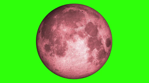 Blood Moon, Luna, Lunar. Red moonlight in green screen. Natural satellite of the World, Moon is Animation