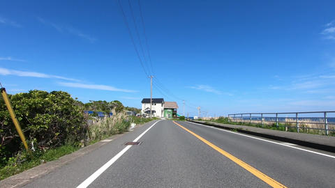 Driving picture. Road by the sea ビデオ