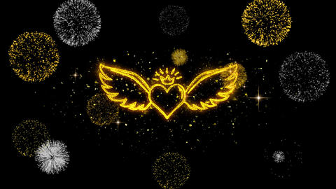 Heart with Angle Wings Shape Golden Blinking Particles with Golden Fireworks Footage