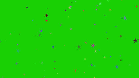 Isolated falling colorful stars rendering. Ornament for birthday, celebration in green screen Animation