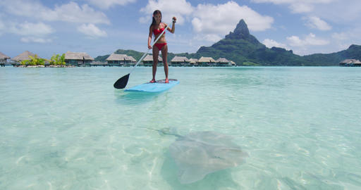 Adventure travel woman on SUP Paddleboard by stingray at Bora Bora luxury resort Footage