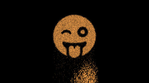Symbol grin tongue wink appears from crumbling sand. Then crumbles down. Alpha channel Premultiplied Animation