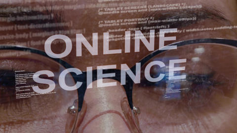 Online science text on background of female developer Footage