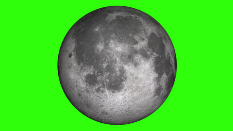 Natural satellite of the World: Moon, Luna, Lunar. Beautiful texture and moonlight in green screen. Animation