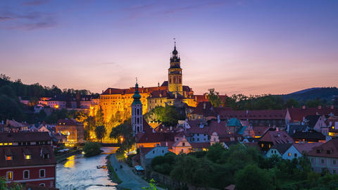 Cesky Krumlov old town in Czech Republic time lapse at twilight Footage