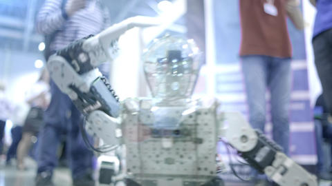 New robot android dancing on the show. Shows human movements. New technologies Live Action