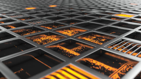 0815 Animated futuristic background from metal grates with orange glowing elements Live Action
