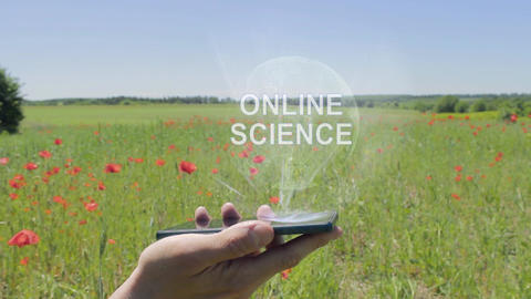 Hologram of Online science on a smartphone Footage