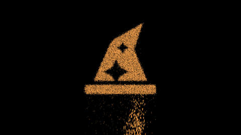 Symbol hat wizard appears from crumbling sand. Then crumbles down. Alpha channel Premultiplied - Animation